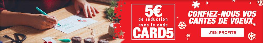Confiez-vous vos cartes de voeux : 5 euros de réduction avec le code CARD5
